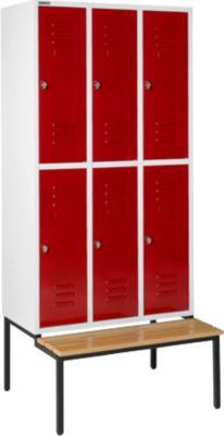 Kleiderspind, mit Sitzbank, 3x2 Abteile, 300mm, Drehriegelverschluss, Tür rubinrot