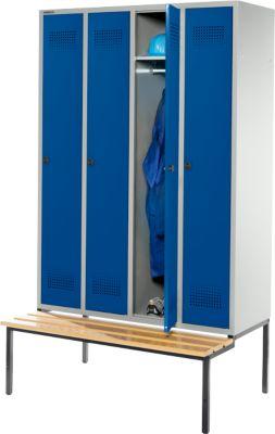 Kleiderspind mit Sitzbank, 4 Abteile, Sicherheitsdrehriegelverschluss, lichtgrau/enzianblau