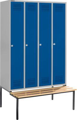 Kleiderspind mit Sitzbank, 4 Abteile, Zylinderschloss, hellsilber/enzianblau