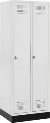 Kleiderspind mit Sockel, 2 Abteile, Drehverschluss, lichtgrau/lichtgrau