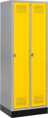 Kleiderspind mit Sockel, 2 Abteile, Sicherheitsdrehriegelverschluss, hellsilber/gelb