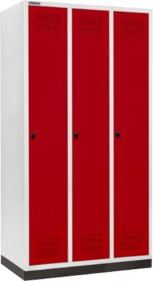 Kleiderspind mit Sockel, 3 Abteile, 300 mm Abteilbreite, Drehriegelverschluss, rubinrot