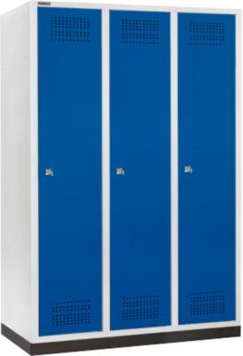 Kleiderspind mit Sockel, 3 Abteile, 400 mm Abteilbreite, Zylinderschloss, lichtgrau/enzianblau