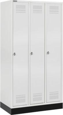 Kleiderspind mit Sockel, 3 Abteile, Sicherheitsdrehriegelverschluss, lichtgrau/lichtgrau