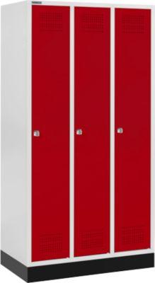 Kleiderspind mit Sockel, 3 Abteile, Zylinderschloss, lichtgrau/rot