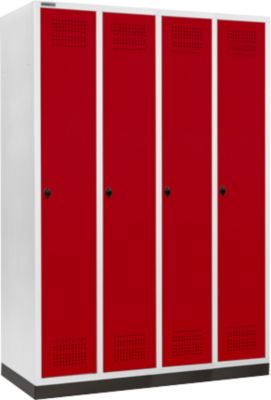 Kleiderspind mit Sockel, 4 Abteile, 300 mm Abteilbreite, Drehriegelverschluss, rubinrot