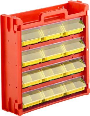 Kleinteilemagazin Porta-Fix PF 6, rot/gelb