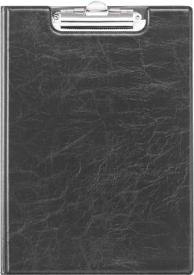 Klemmap A4, leer-look, zwart