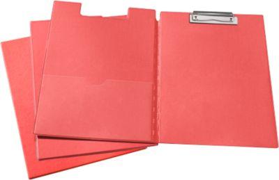 Klemmmappe, DIN A4, Kunststoff, mit Klemmbügel, rot