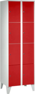 Kluis 300 mm, 2 compartimenten, 8 compartimenten, 8 compartimenten, veiligheidscilinderslot, voet, vuurrood