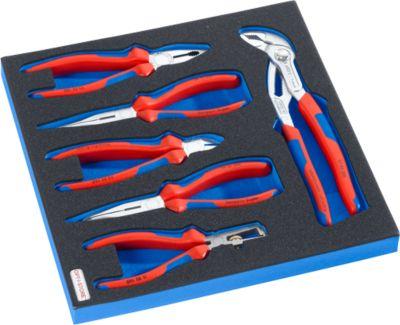 KNIPEX-tang in hardschuim-inzetstuk, 6 st., voor kasten uit de serie DP, afmetingen 195 x 558 mm.