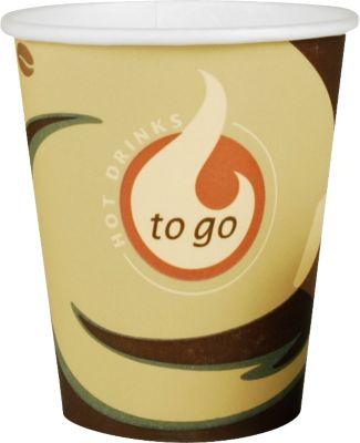 Koffie to go beker, voor 0,2 l, bedrukt karton, beige-zwart, 50 stuks