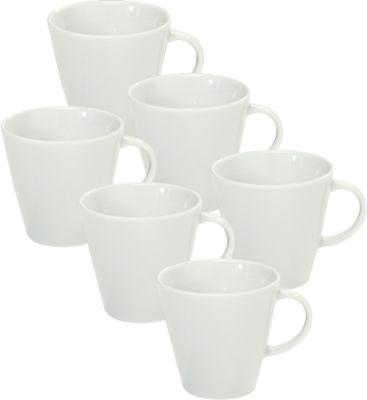 Koffiekopje Solea, uni, wit, porselien, 6 stuks