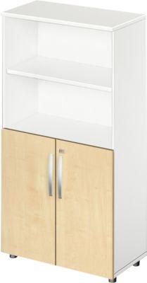 Kombischrank LOGIN, oben 2 Regale, unten 2 Ordnerhöhen mit Türen, B 800 x T 420 x H 1470 mm, weiß/Ahorn Dekor