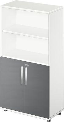 Kombischrank LOGIN, oben 2 Regale, unten 2 Ordnerhöhen mit Türen, B 800 x T 420 x H 1470 mm, weiß/graphit
