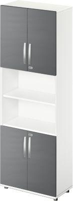 Kombischrank LOGIN, oben und unten 2 Ordnerhöhen mit Tür, Mitte Regal, B 800 x T 420 x H 2196 mm, weiß/graphit