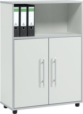Kombischrank Moxxo IQ, Holz, 2 Flügeltüren, 1 offenes Fach, 3 OH, B 801 x T 362 x H 1115 mm, lichtgrau