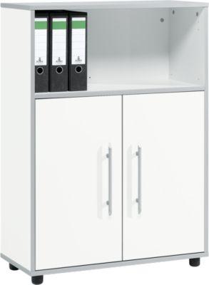 Kombischrank Moxxo IQ, Holz, 2 Flügeltüren, 1 offenes Fach, 3 OH, B 801 x T 362 x H 1115 mm, weiß