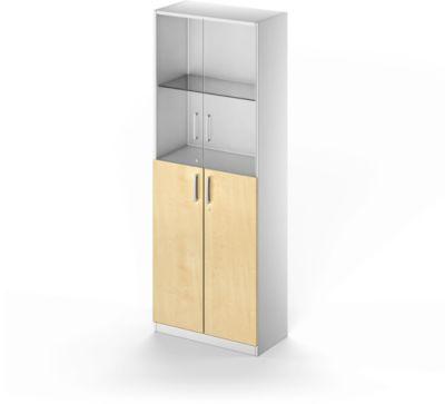 Kombischrank TETRIS SOLID, 5 OH, Glas- und Flügeltüren, B 800 mm, abschließbar