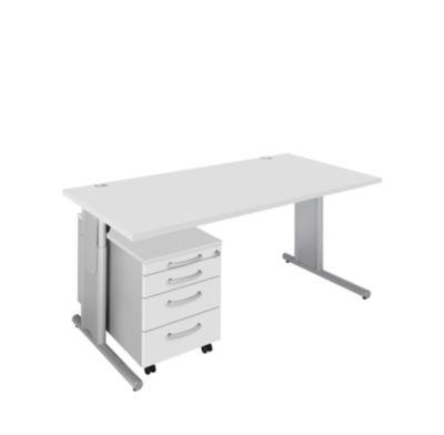 Komplett-Angebot COMBITEC Schreibtisch + Rolly, lichtgrau/weißalu