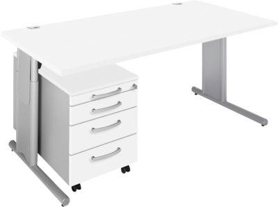 Komplett-Angebot COMBITEC Schreibtisch + Rolly, weiß/weißalu