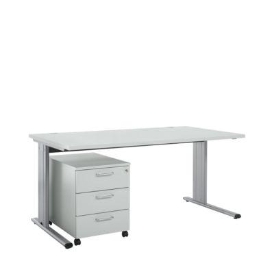 Komplett-Angebot Schreibtisch und Rollcontainer 333 Planova 2500, lichtgrau