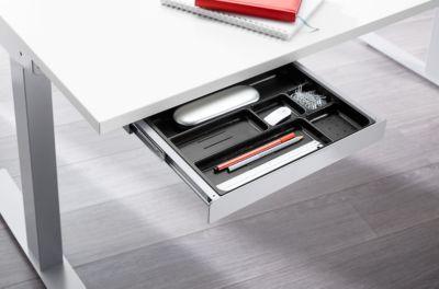 Komplettangebot MODENA FLEX 5-tlg., Schreibtisch elektr. höhenverstellbar, PC-Halterung + Schublade, lichtgrau