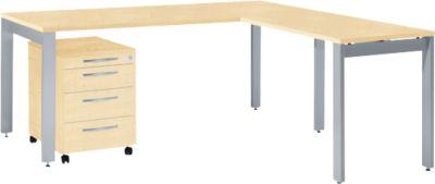 Komplettset LOGIN, 4-Fuß Schreibtisch 1800 mm, 4-Fuß Anbautisch, Rollcontainer, Ahorn Dekor
