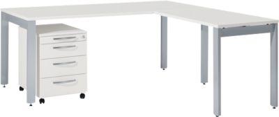 Komplettset LOGIN, 4-Fuß Schreibtisch 1800 mm, 4-Fuß Anbautisch, Rollcontainer, lichtgrau