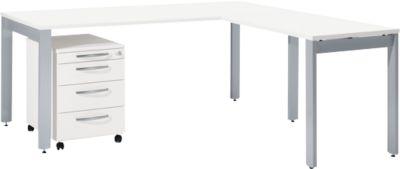 Komplettset LOGIN, 4-Fuß Schreibtisch 1800 mm, 4-Fuß Anbautisch, Rollcontainer, weiß