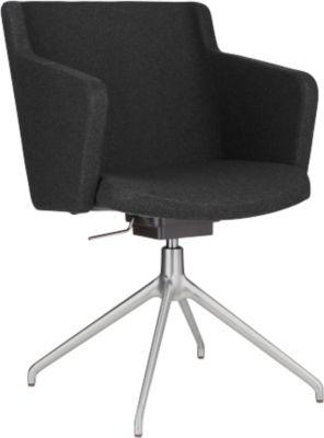 Konferenzstuhl Sitness 1.0, dreidimensionale Sitzfläche, höhenverstellbar, drehbar, anthrazit