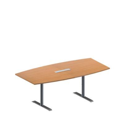 Konferenztisch MODENA FLEX, höhenverstellbar, 6-fach Anschlussfeld, Boots-Form, T-Fuß-Rundrohr, B 2000 x T 1000/800 mm, Buche-Dekor