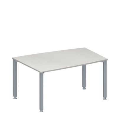 Konferenztisch MODENA FLEX, höhenverstellbar, Tonnen-Form, 4-Fuß-Quadratrohr, B 1400 x T 1000 mm, lichtgrau