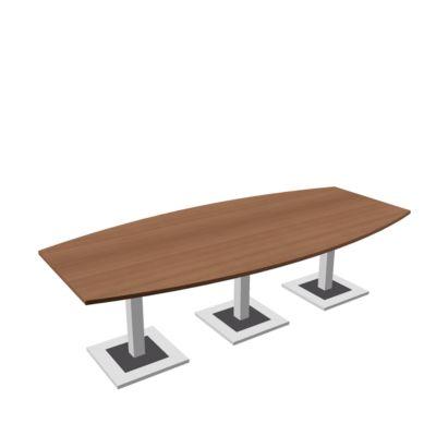 Konferenztisch Quandos Bootsform, 3teilig, B 3500 x T 1200 mm, Kirsche-Romana