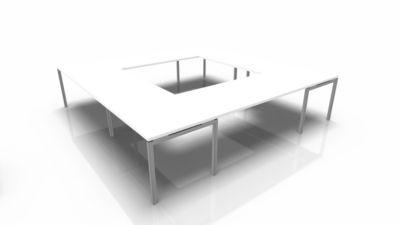Konferenztischsystem IDEA, Quadrat 16 Plätze, B 3200 x T 3200 mm, weiß/aluminium