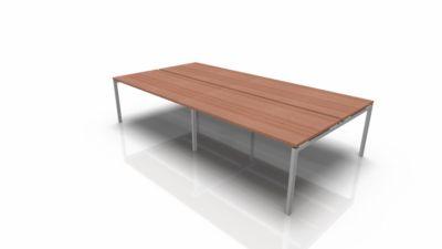 Konferenztischsystem IDEA, Rechteck 12 Plätze, B 3200 x T 1640 mm, Nuss-Canaletto/aluminium