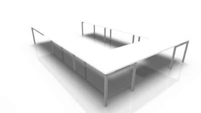 Konferenztischsystem IDEA, U-Form 16 Plätze, B 3200 x T 4800 mm, weiß/aluminium