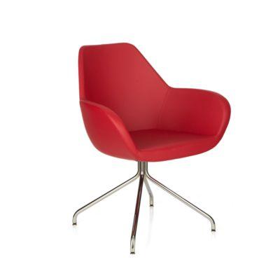 KONSIT bezoekersstoel, spinvoet, kunstleder rood