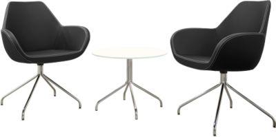 KONSIT set: 1 bijzettafel ø 600 x H 450 mm + 2 bezoekersstoelen, zwart