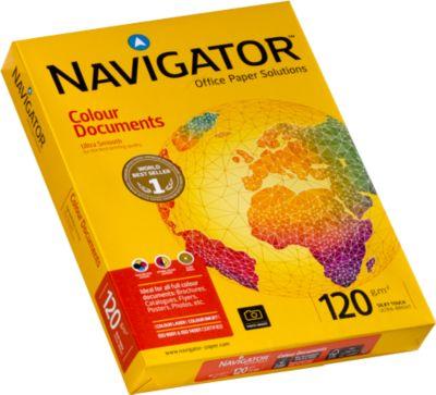 Kopierpapier Navigator Colour Documents, DIN A4, 120 g/m², hochweiß, 1 Paket = 250 Blatt