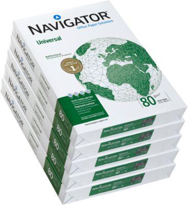Kopierpapier Navigator Universal, DIN A3, 80 g/m², hochweiß, 1 Karton = 5 x 500 Blatt