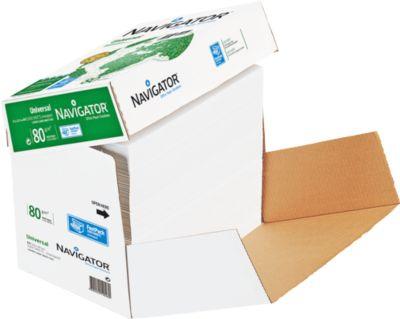 Kopierpapier Navigator Universal, DIN A4, 80 g/m², hochweiß, 1 Karton = 2500 Blatt