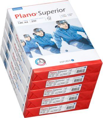 Kopierpapier Papyrus Plano® Superior, DIN A4, 120 g/m², hochweiß, 1 Karton = 5 x 250 Blatt