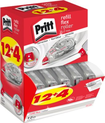 Korrekturroller Pritt Refill Flex, mit Nachfüller, L 12 m x B 4,2 mm, 16er-Multipack