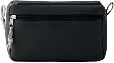 Kosmetiktasche NEW & SMART, 600D Kunststoff, 2 Reißverschlussfächer, Siebdruck 80 x 80 mm, schwarz
