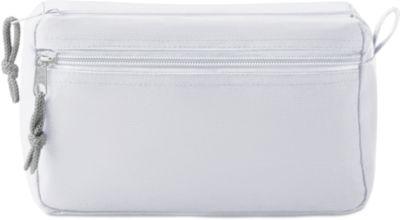 Kosmetiktasche NEW & SMART, 600D Kunststoff, 2 Reißverschlussfächer, Siebdruck 80 x 80 mm, weiß