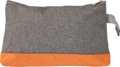 Kosmetiktasche STOCKHOLM, 300D Kunststoff, Reißverschlussfach, mit Handschlaufe, Werbedruck 120 x 90 mm, orange