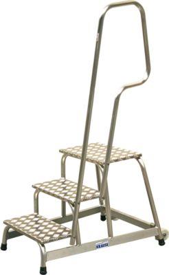 KRAUSE Montagetritt, mit Handlauf/Fahrrollen, 3 Stufen, Höhe 0,6 m, 11 kg