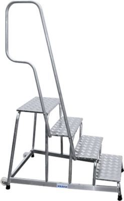 KRAUSE Montagetritt, mit Handlauf/Fahrrollen, 4 Stufen, Höhe 0,8 m, 13,5 kg