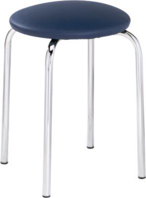 Kruk, stapelbaar, 4-pootsframe, kunstlederen bekleding, H 440 mm, blauw